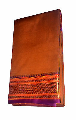 Orange Dhoti With Shawl In Pure Silk Golden Border Top Quality#46