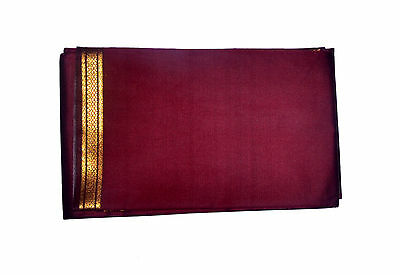 Maroon Dhoti With Shawl In Pure Silk Golden Border Top Quality