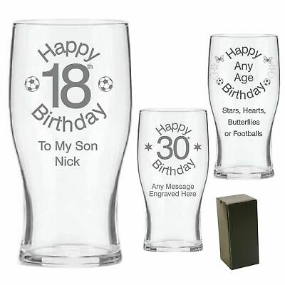 Personalised Engraved Pint Beer Glass Birthday Gift 16th 18th 21st 30th Gift