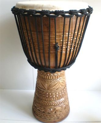Pro Quality Mahogany Wood Bongo Djembe Drum Deep Carved Natural 60Cm Tall
