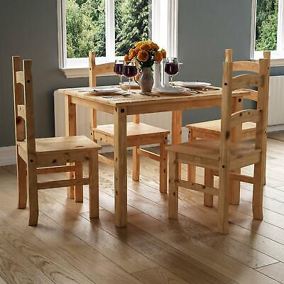 CORONA DINING SET 4 Seater 5 Piece Chairs Table Solid Waxed Pine Furniture
