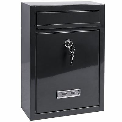 POST BOX Dark Grey Square Steel Letter Mail Wall Mountable Lockable Key Outdoor