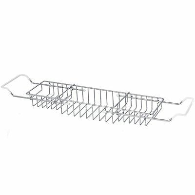 BATH TUB RACK Extendable Chrome Shower Shelf Tray Tidy Caddy Storage Holder
