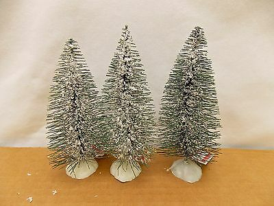 Green with White Snow Bottle Brush Winter Trees 6 Inch Tall Plastic Base