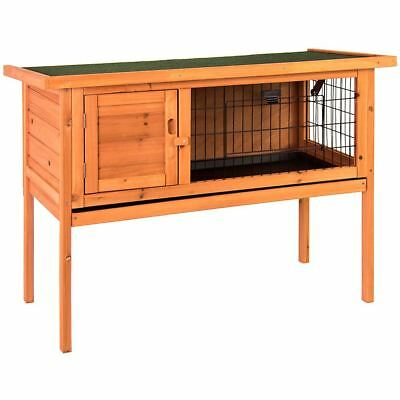 Pet Rabbit Hutch Single Wooden Brown Animal Bunny Chicken Cage Coop Garden House