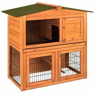 PET RABBIT HUTCH Wooden 2 Tier Animal House Bunny Guinea Pig Outdoor Brown Cage
