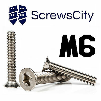 M6 (6mm Ø) PHILLIPS MACHINE SCREWS COUNTERSUNK FLAT HEAD BOLTS STAINLESS STEEL