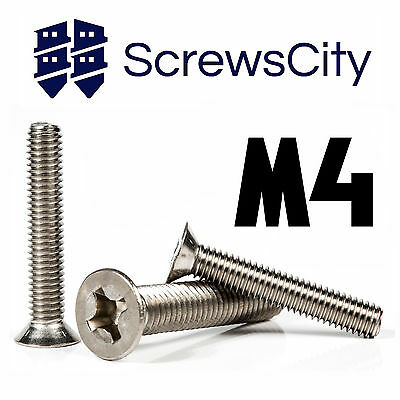 M4 (4mm Ø) PHILLIPS MACHINE SCREWS COUNTERSUNK FLAT HEAD BOLTS STAINLESS STEEL