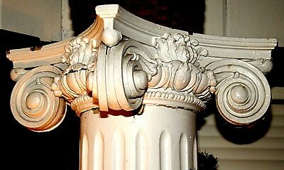 Pair c1900 Colonial Revival architectural column s, fluted, oak capital, 7'