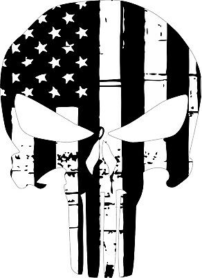 Punisher Black and White USA Flag Style Window decal - Various Sizes