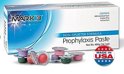 1 Box - Dental Prophy Paste Prophylaxis Non splatter Mark3 - 200 cups
