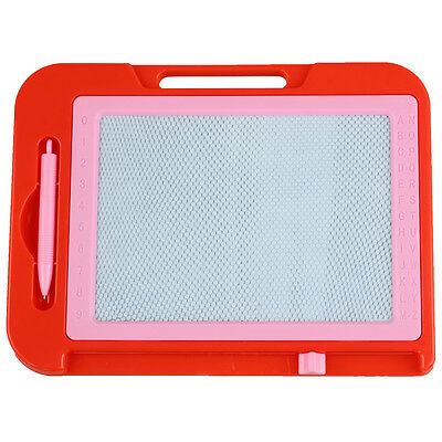 Red Pink Plastic Frame Magnetic Writing Drawing Board T1