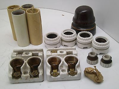 Lot Of Antique Electrical! Porcelain Parts Lighting Lamp See Photos! Dm