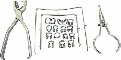 Starter Kit Rubber Dam of 18 Pcs with Frame Punch Clamps Dental Instrument SD2