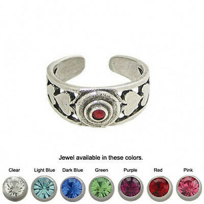 Jeweled Heart Toe Ring .925 Sterling Silver Adjustable - TR137