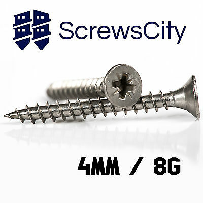 4mm 8g WOOD CHIPBOARD SCREWS A2 STAINLESS STEEL POZI COUNTERSUNK FULLY THREADED