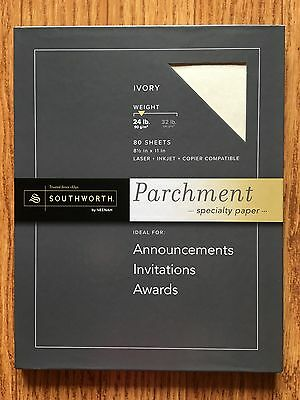 Southworth 24 Lb. Fine Parchment Resume Paper, 8 1/2in. x 11in., Ivory 80 Sheets