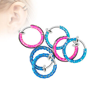 Non-Piercing Hoops - 6-Pack - Perfect for Nose, Lip, Ear, Cartilage - All Ages