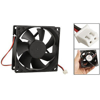 DC 12V Black 80mm Square Plastic Cooling Fan For Computer PC Case T1