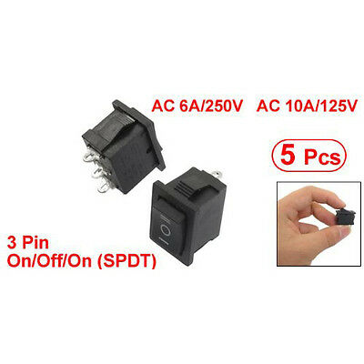 5 pcs SPDT On/Off/On Mini Black 3 Pin Rocker Switch AC 6A/250V 10A/125V T1