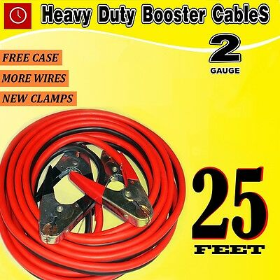 25 FT 2 Gauge battery Booster Cable Jumping Cables Power Jumper Heavy duty