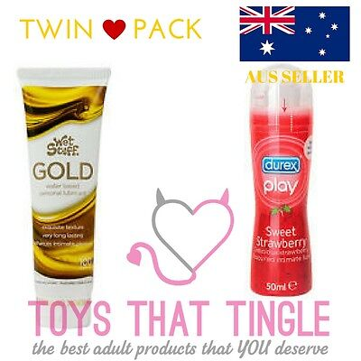 Twin Pack Durex Play Strawberry & Feel Intimate Lube Foreplay Sex Lubricant