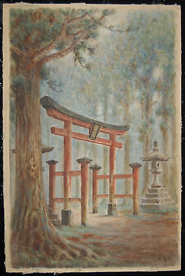 Watercolor, torii shrine entrance and stone lantern in forest, H. Kato, Japan