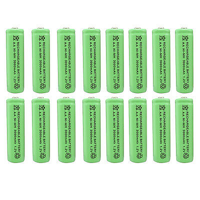 16 pcs AA 3000mAh Ni-MH 1.2V Rechargeable Battery Green For Toy RC Solar Light