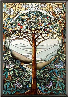 MI Hummel/Glassmasters 9 1/4 by 13 1/4 Inch Tree of Life Stained Glass Panel