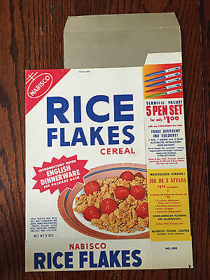 1950's Nabisco Rice Flakes Cereal Box Vintage - Rare Flat Mint Condition