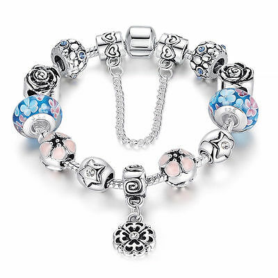 2016 European 925 Silver Plated Bead Charm Bracelet Crystal Women Bangle Jewelry