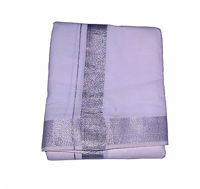 White Dhoti With Shawl In Cotton Silver Border Top Quality#66