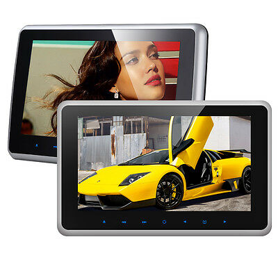 "2X HDMI 10"" HD LCD Clip On Monitor Car Active Headrest Restraint DVD Player Game"