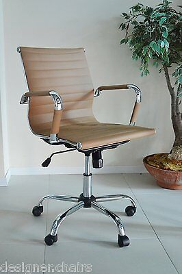Tan Designer Ribbed Director Chair Charles Eames Style Computer Office Swivel