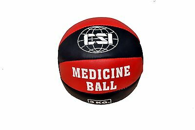 Csi Real Leather Weighted Fitness Medicine Ball Size 6 Lbs - Red/black