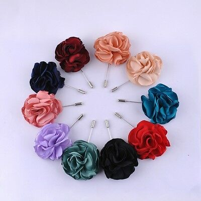 Boutonniere Wedding Party Handmade Silk Rose Flowers Corsage Pin Grooms Brooch