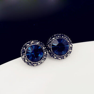 Fashion Blue Crystal Charm Round Ear Studs Earrings Party Jewelry Gift New