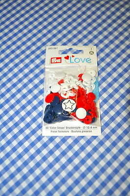 Prym Love Poppers Snaps 30 Pieces Multicolour Stars Red White Blue