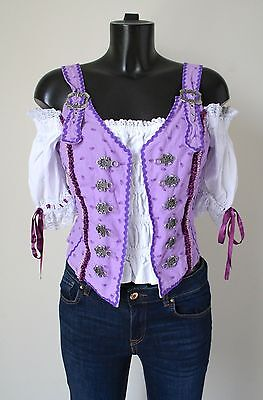 Tyrol / Oktoberfest Corset Top - Lilac Cotton - Fuchs - UK 12