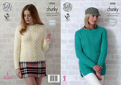 King Cole Womens Chunky Knitting Pattern Ladies Cable Knit Raglan Sweaters 4702