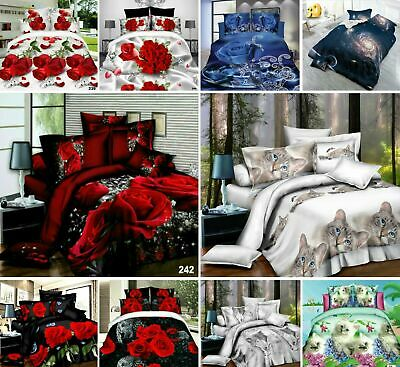 Floral Animal 3D Printed 4 Pieces Duvet Cover Fitted Sheet Complete Bedding Set