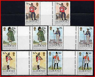 Alderney/gb Military Uniforms Sc#23-27 Mnh Gutter Pairs ##costumes##