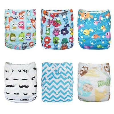 Alva Baby 6pcs Pack Pocket Adjustable Reusable Cloth Diaper with 2 Inserts Each