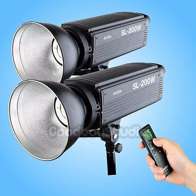 2PCS Godox SL-200W 5600K LCD Panel LED Video Continuous Light w/ Remote Control