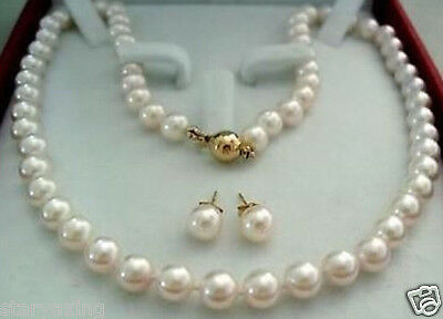 14K Gold Clasp 7-7.5MM AAAA White Akoya Cultured Pearl Necklace Earring