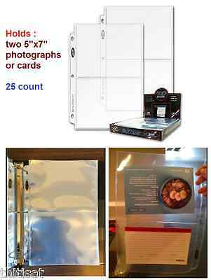 """Photo Archival Storage Binder Pages 3 Ring Hold 2 Photographs Card 5""""x7"""" 25 ct"""
