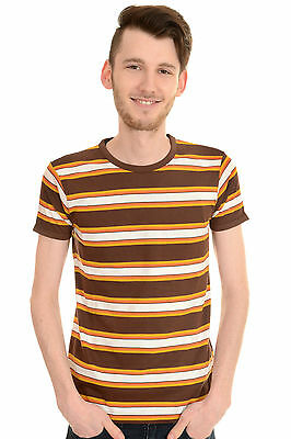 Mens Run & Fly 60's Indie Mod Retro Brown Engineered Striped T Shirt