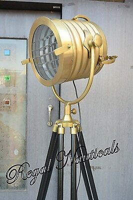 Nautical Collectible Spot Search Light floor Lamp With Black Wood Tripod Stand