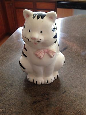 Kitty Cat Cookie Jar BLACK & White STRIPED CAT WITH PINK SCARF