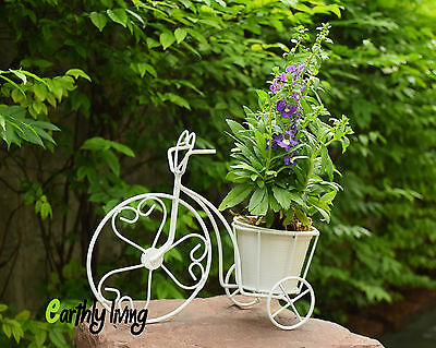 Bicycle Tricycle Wire Iron Flower Cactus Planter Stand Green Office Home Garden